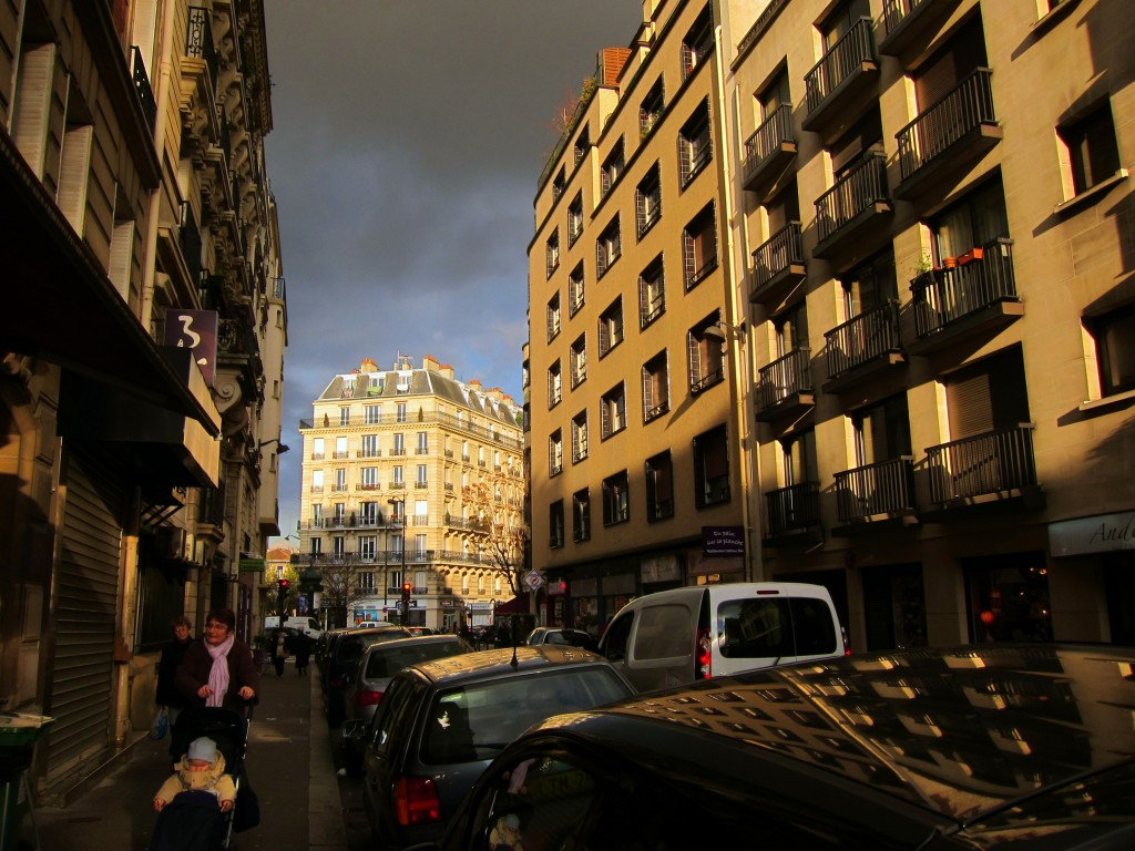 Paris' Falguiere street in the late afternoon sun.