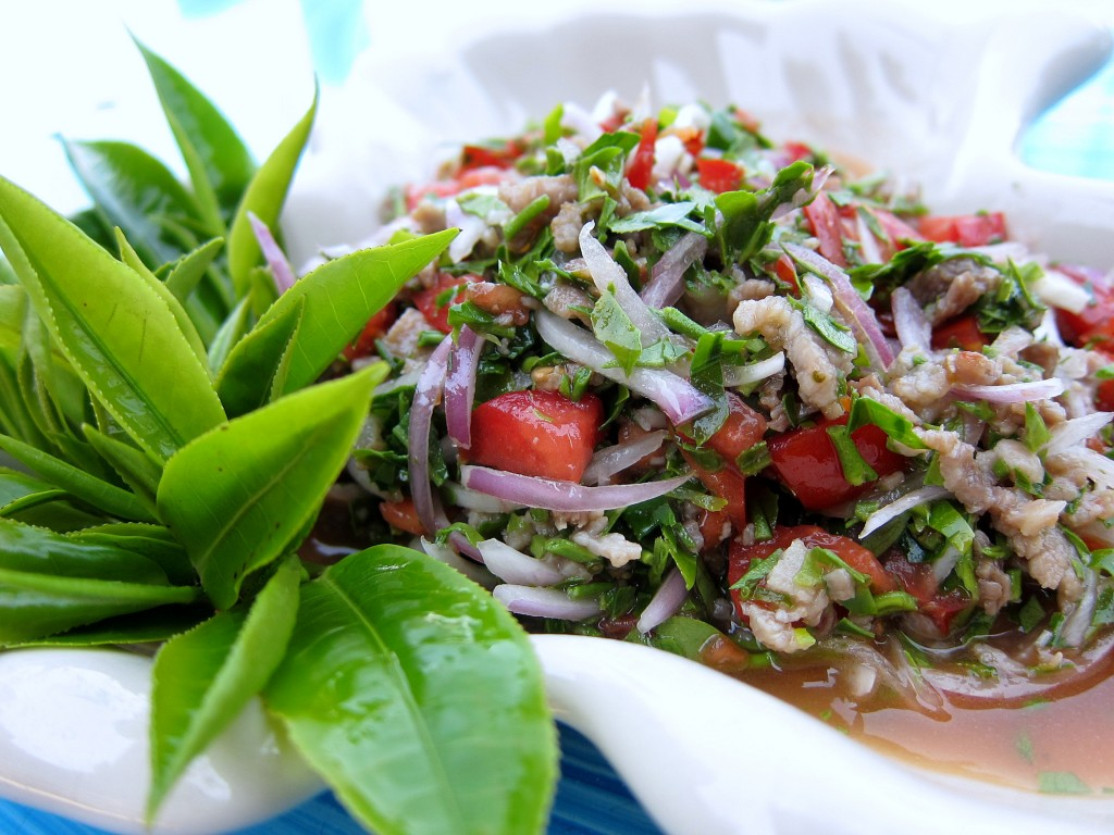 Tea leaf salad in Ban Rak Tai, Thailand