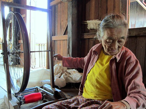 Inle Lake Burma- woman weaving silk
