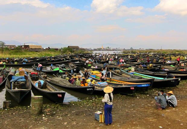 Inle Lake Burma- Boats and Boats at the Pao markets