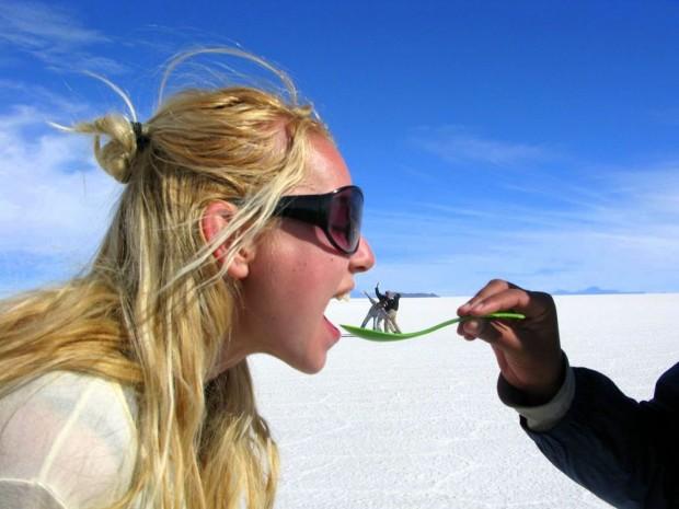 Optical illusion fun on Salar de Uyuni