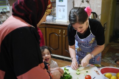 Cooking in Rasun, Jordan