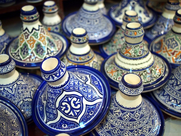 Ceramic taginieres at the pottery village in Fez, Morocco