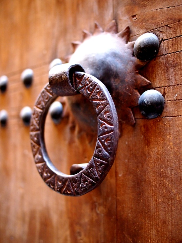 Beautiful doorknob in the winding alleyways of Fez' medina