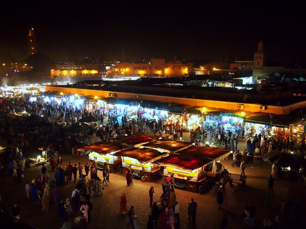 Djemaa el-Fnaa at night in Marrakesh