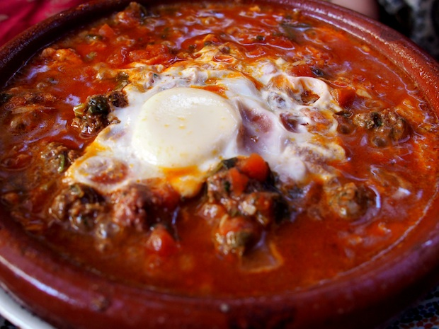 Beef kefta tagine with tomato, onion and egg in Essaouira - Legal ...