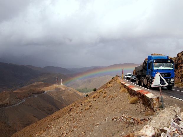 Trucks, cars and goats on the drive through the High Atlas mountains