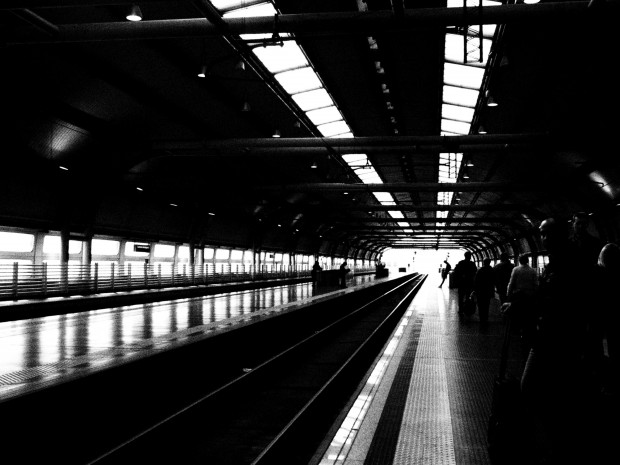 Fiumicino train station, just off the plane in Rome