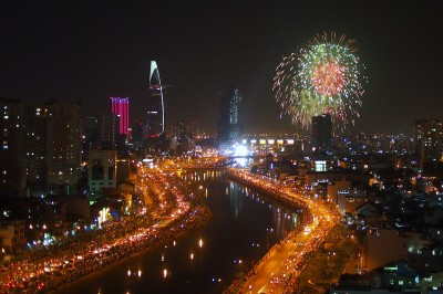Fireworks over Saigon for Tet